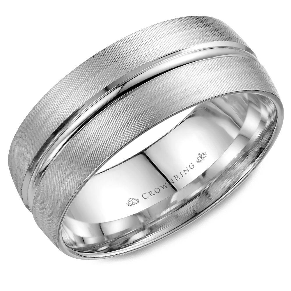Crownring Carved 8mm White Gold Wedding Band For Men