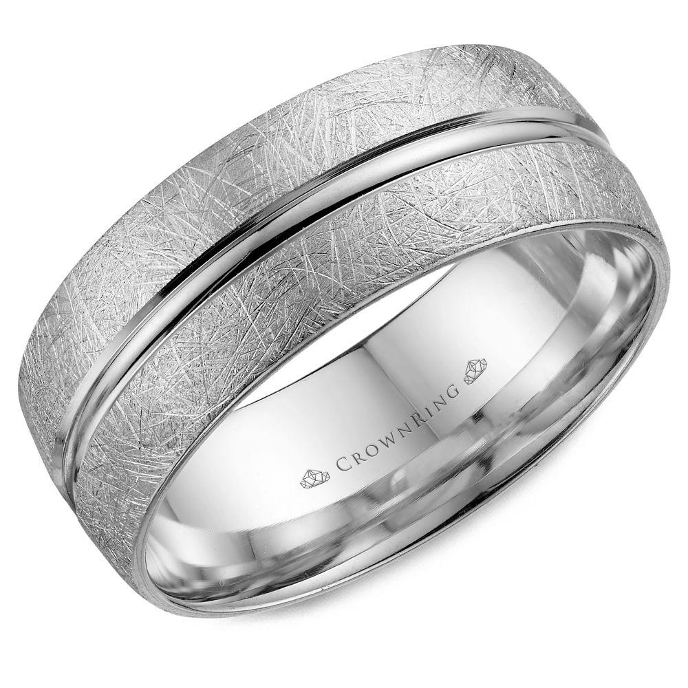 Crownring Classic 8mm Line Detailing White Gold Wedding Band For Men