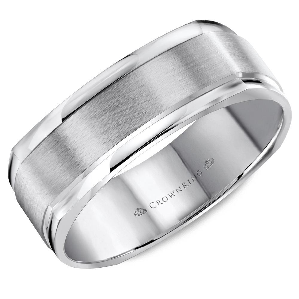 Crownring Classic 7mm Softsquare Center White Gold Wedding Band For Men