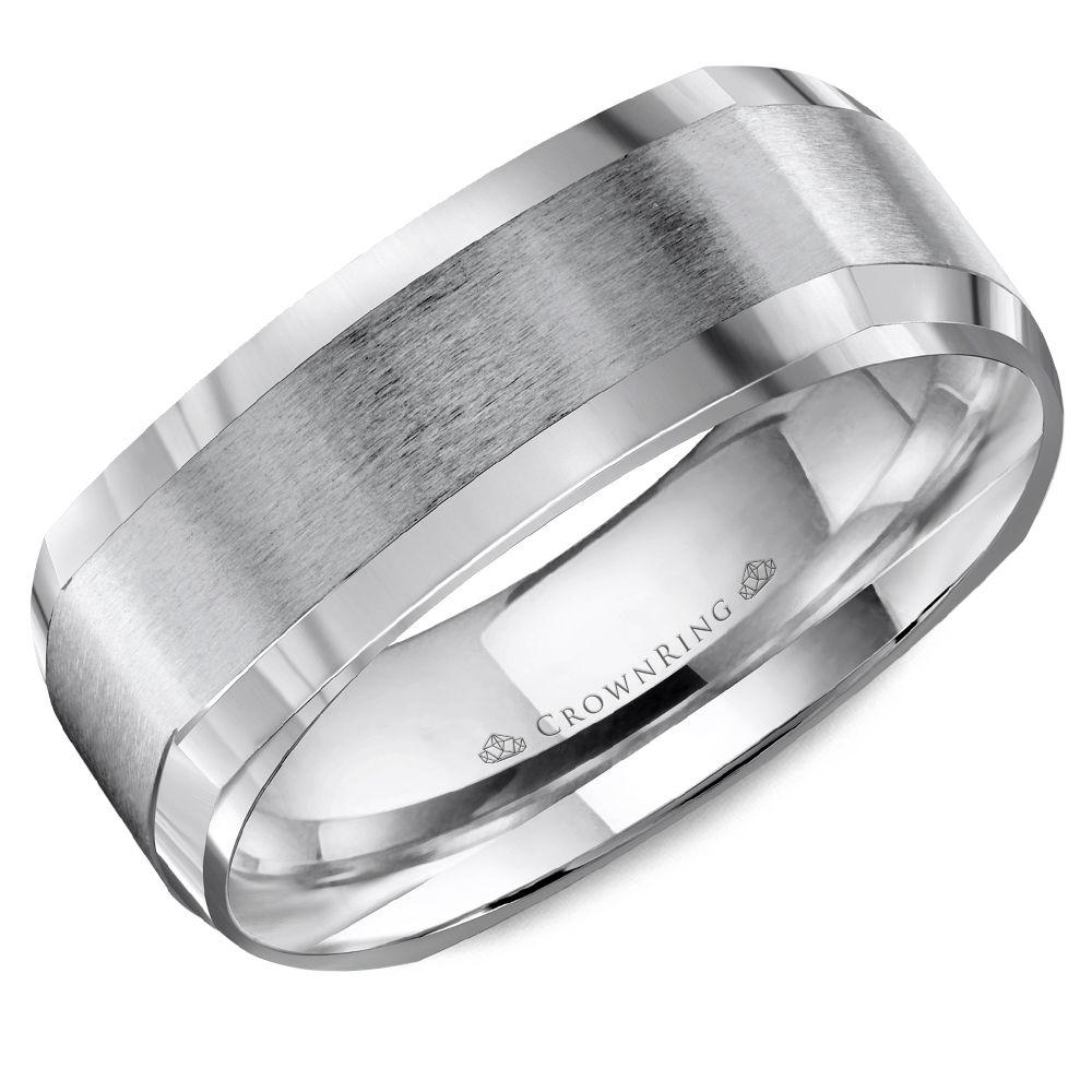 Crownring Classic 7mm Contemporary Softsquare Center White Gold Wedding Band For Men