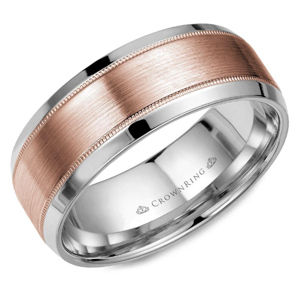 Crownring Classic 8mm Elegant Center White and Rose Gold Wedding Band For Men