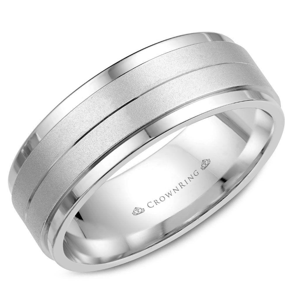 Crownring Classic 8mm Stylish White Gold Wedding Band For Men