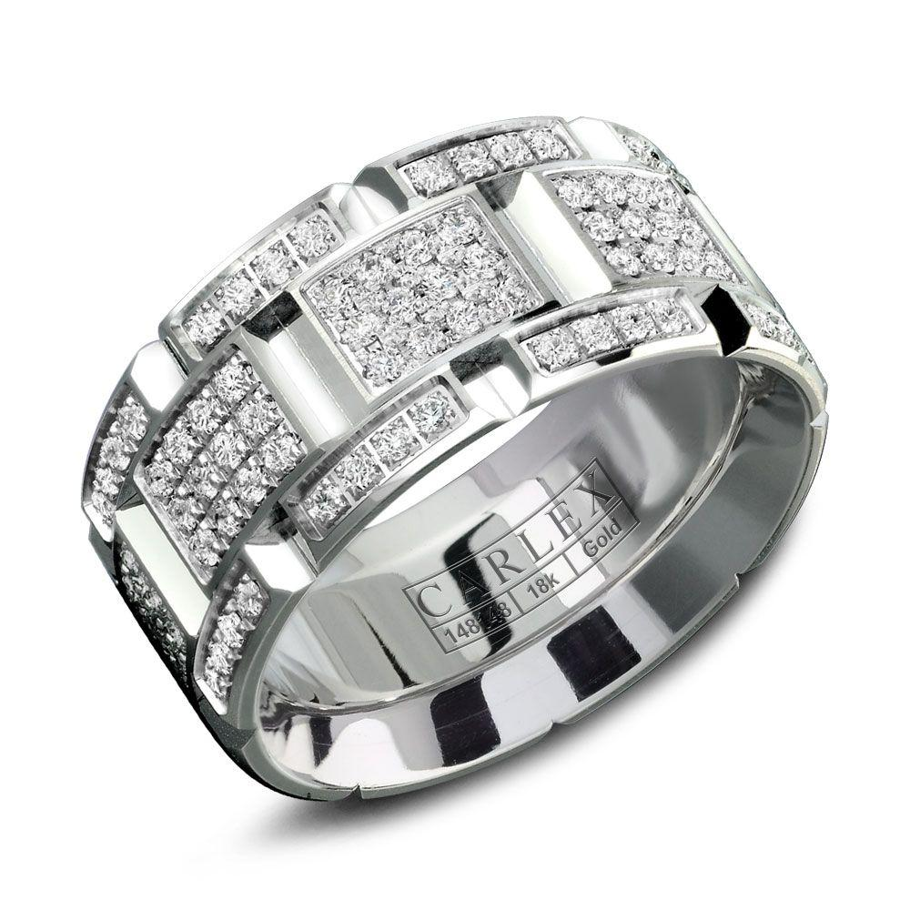 Crowning Luxury Ring With White Gold 9.5mm and 160 Round Diamonds Carlex Collection