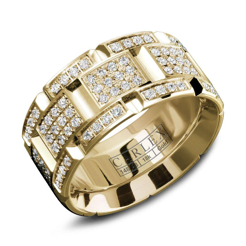 Crowning Luxury Ring With Yellow Gold 9.5mm and 160 Round Diamonds Carlex Collection