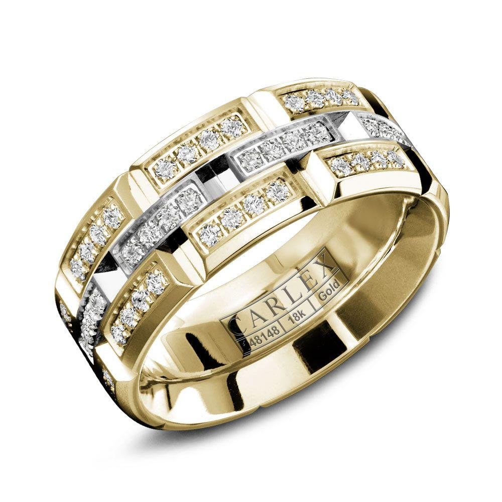 Crowning Luxury Ring With Yellow Gold and White Gold Center 7.5mm and 96 Diamonds Carlex Collection
