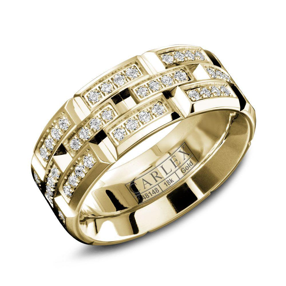 Crowning Luxury Ring With Yellow Gold 7.5mm and 96 Diamonds Carlex Collection