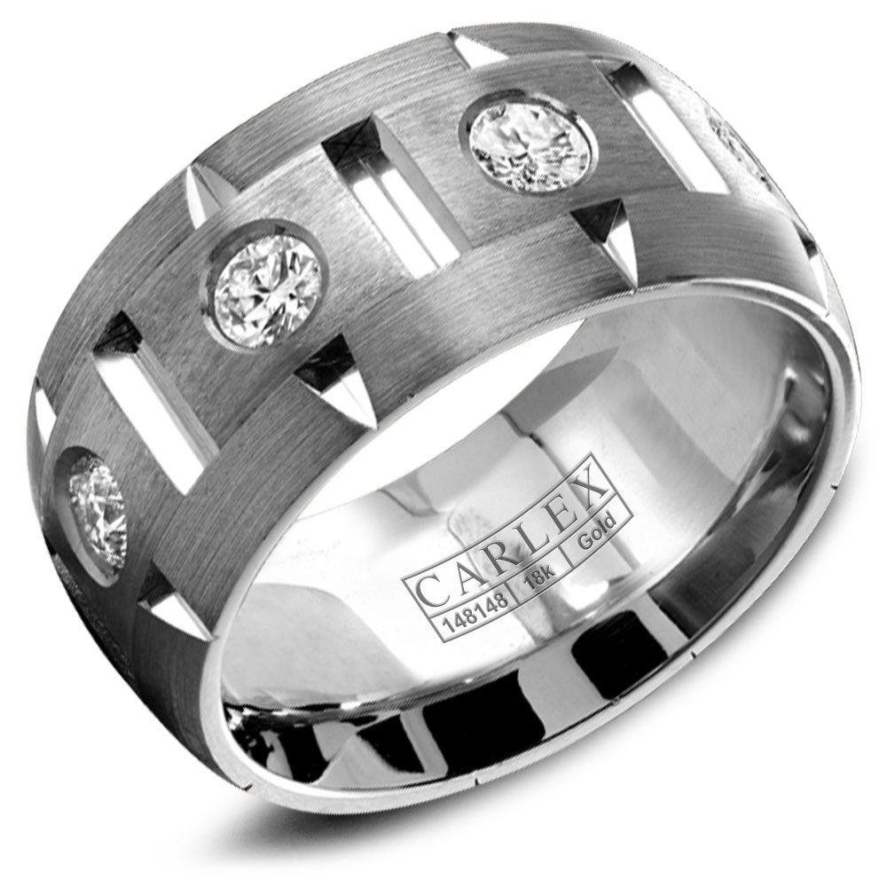 Crowning Luxury Ring With White Gold 9.5mm and 8 Round Diamonds Carlex Collection