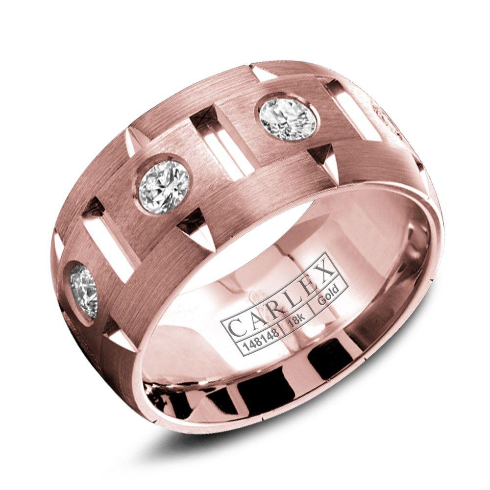 Crowning Luxury Ring With Rose Gold 9.5mm and 8 Round Diamonds Carlex Collection