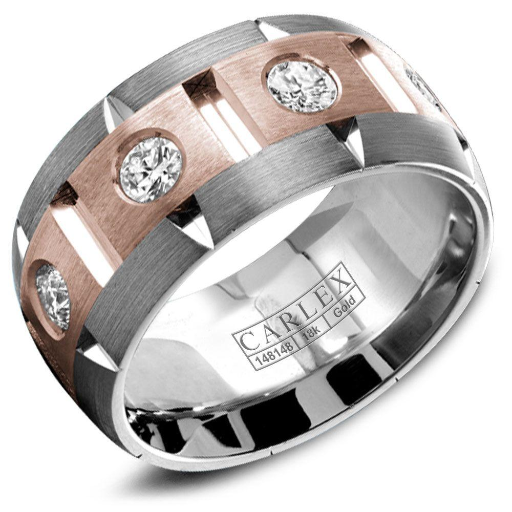 Crowning Luxury Ring With White and Rose Gold Inlay and 8 Round Diamonds Carlex Collection