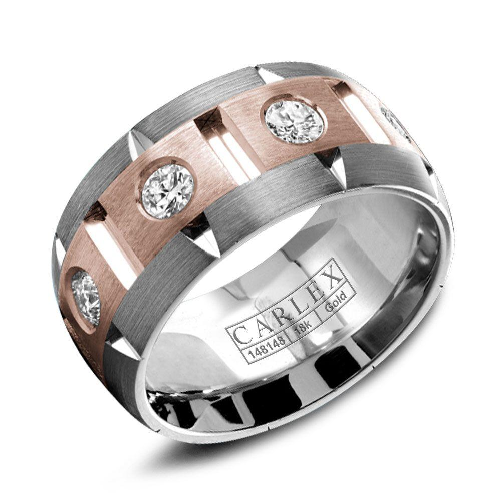 Crowning Luxury Ring With Rose and White Gold Inlay and 8 Round Diamonds Carlex Collection