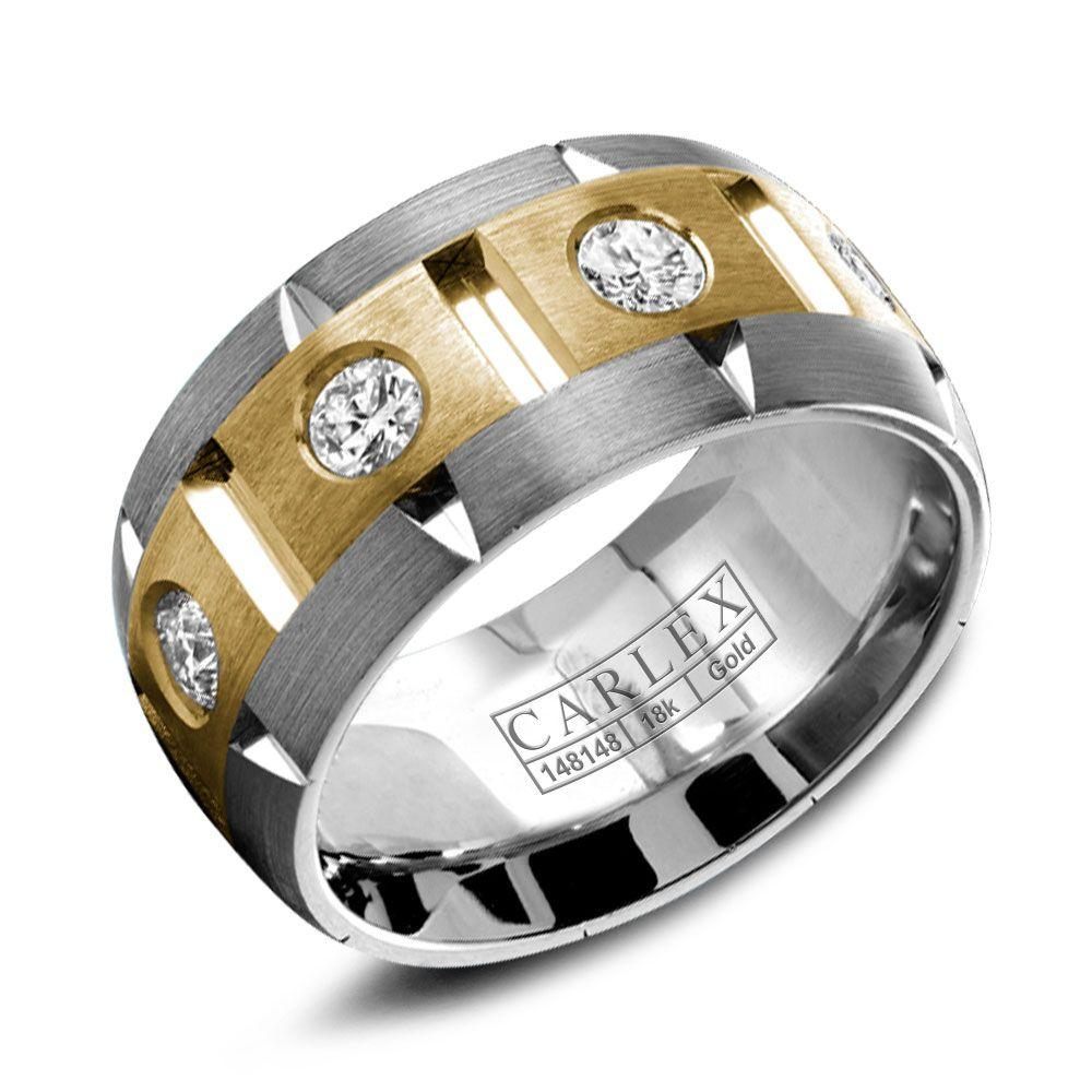 Crowning Luxury Ring With White and Yellow Gold Inlay and 8 Round Diamonds Carlex Collection