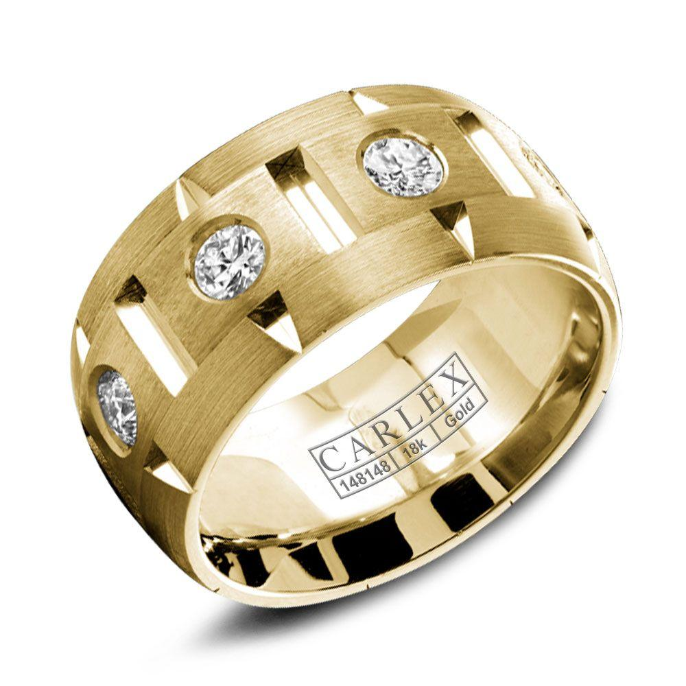 Crowning Luxury Ring With Yellow Gold 9.5mm and 8 Round Diamonds Carlex Collection