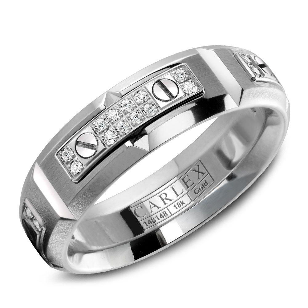 Crowning Luxury Ring In White Gold with 48 Round Diamonds 6.5mm Carlex Collection