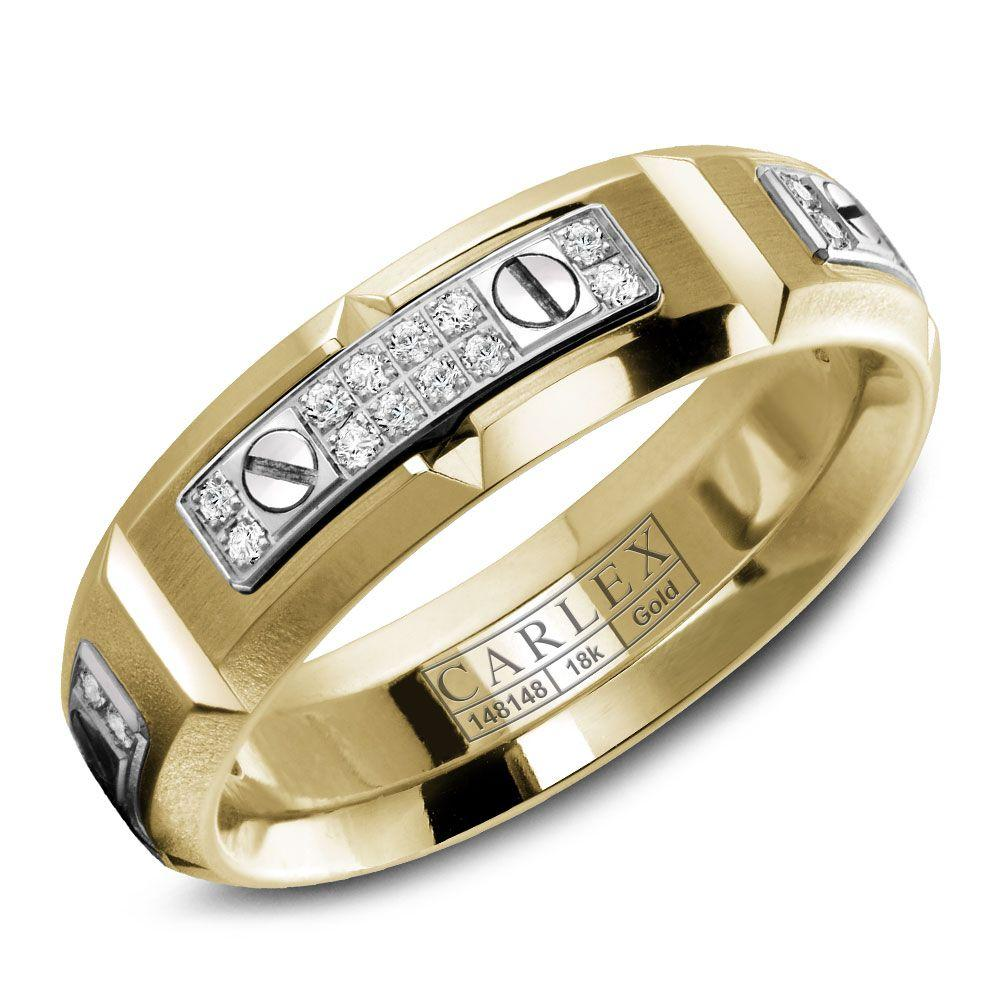 Crowning Luxury Ring In Yellow Gold with 48 Round Diamonds 6.5mm Carlex Collection