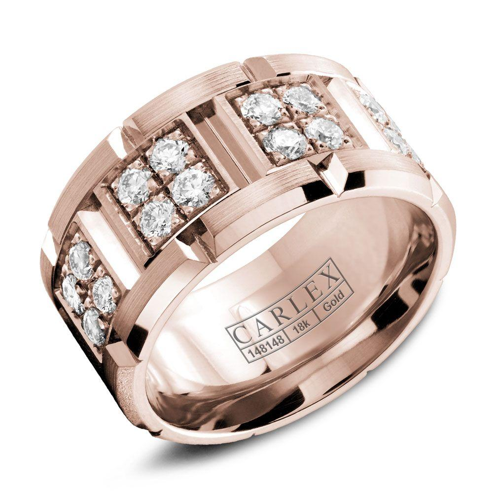 Crowning Luxury Ring With Rose Gold 10.5mm and 32 Round Diamonds Carlex Collection