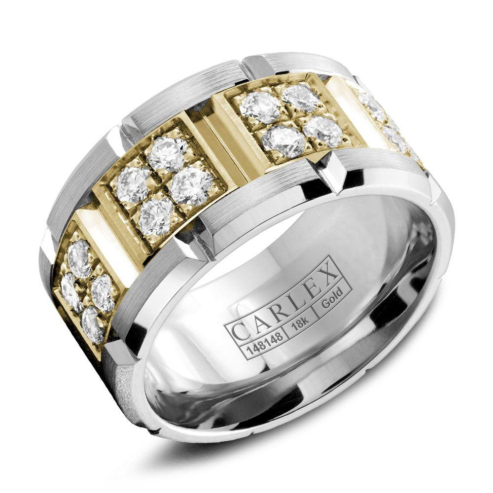 Crowning Luxury Ring In White Gold with a Yellow Gold Center and 32 Round Diamonds Carlex Collection
