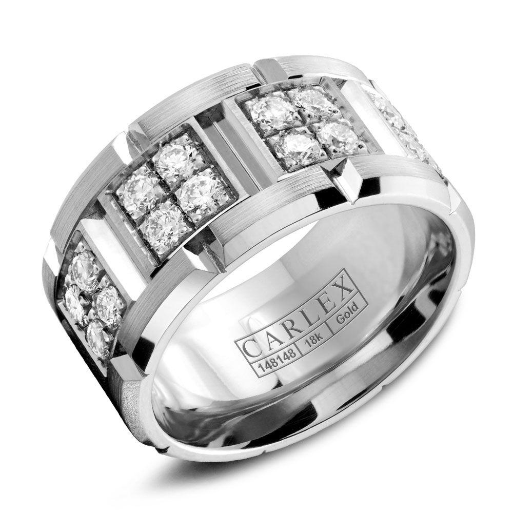 Crowning Luxury Ring With White Gold 10.5mm and 32 Round Diamonds Carlex Collection