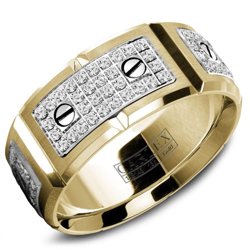 Crowning Luxury Ring In Yellow Gold with 128 Round Diamonds 9.5mm Carlex Collection