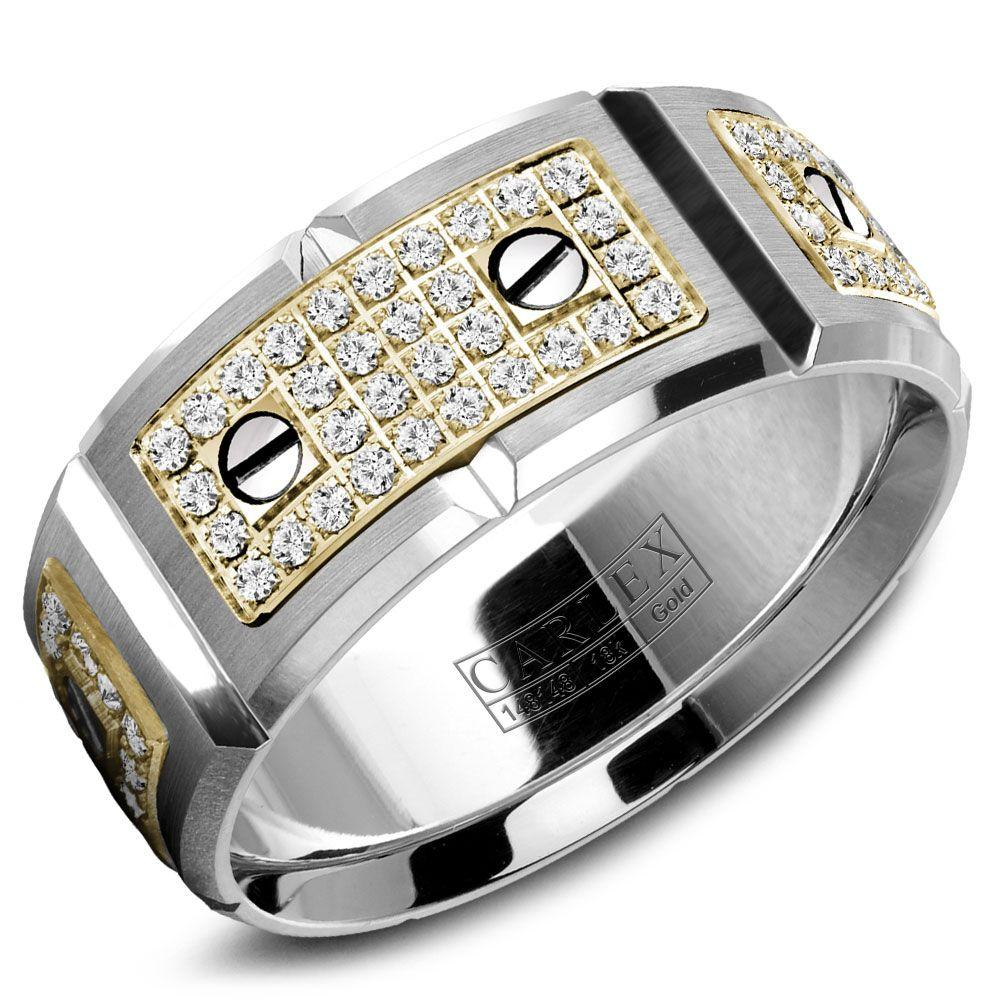 Crowning Luxury Ring In White Gold with 128 Round Diamonds 9.5mm Carlex Collection