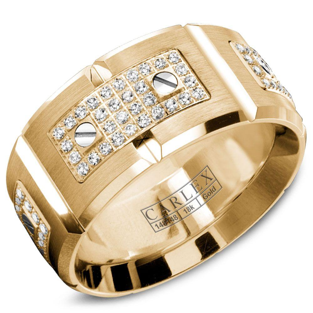 Crowning Luxury Ring In Yellow Gold with 128 Round Diamonds 11mm Carlex Collection