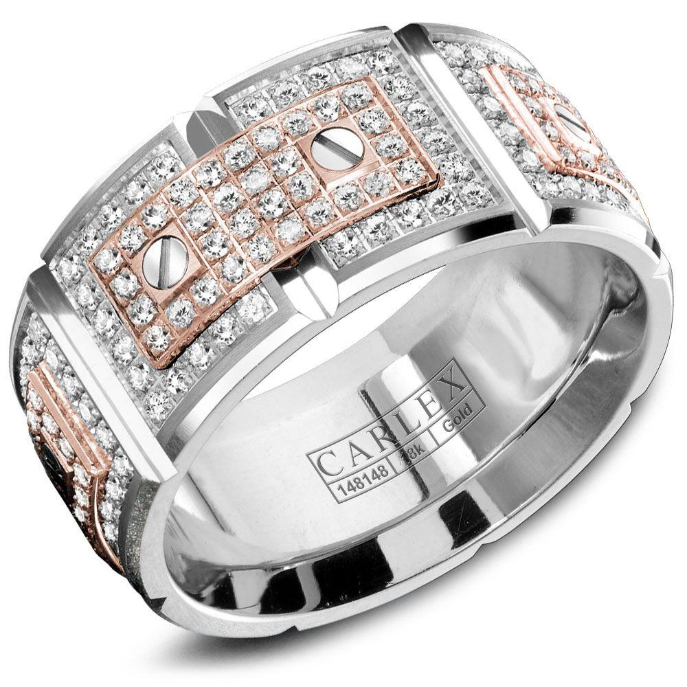Crowning Luxury Ring In White Gold with 128 Round Diamonds 11mm Carlex Collection