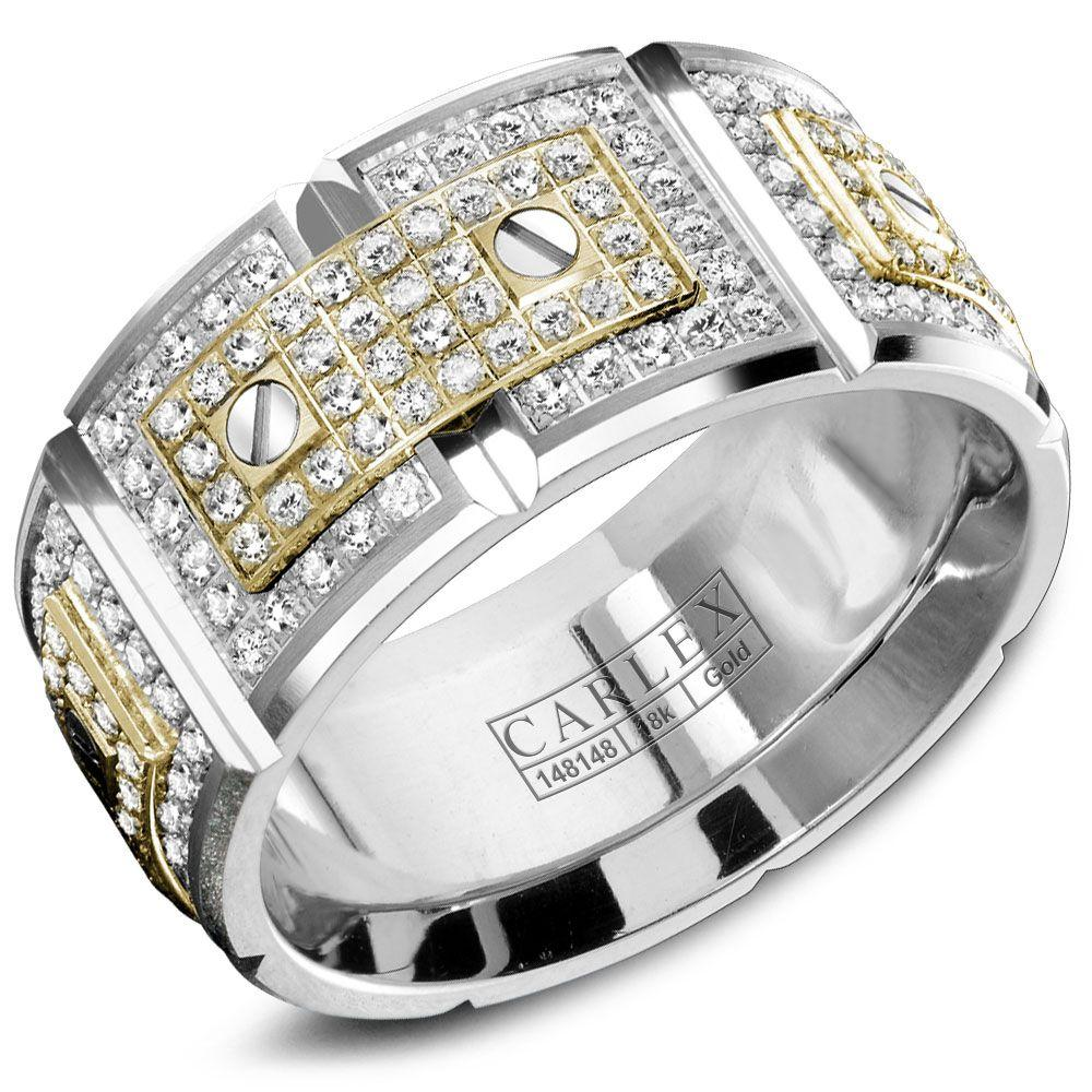 Crowning Luxury Ring In White Gold with 240 Round Diamonds 11mm Carlex Collection