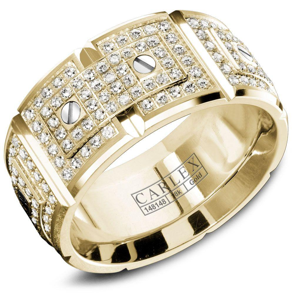 Crowning Luxury Ring In Yellow Gold with 240 Round Diamonds 11mm Carlex Collection