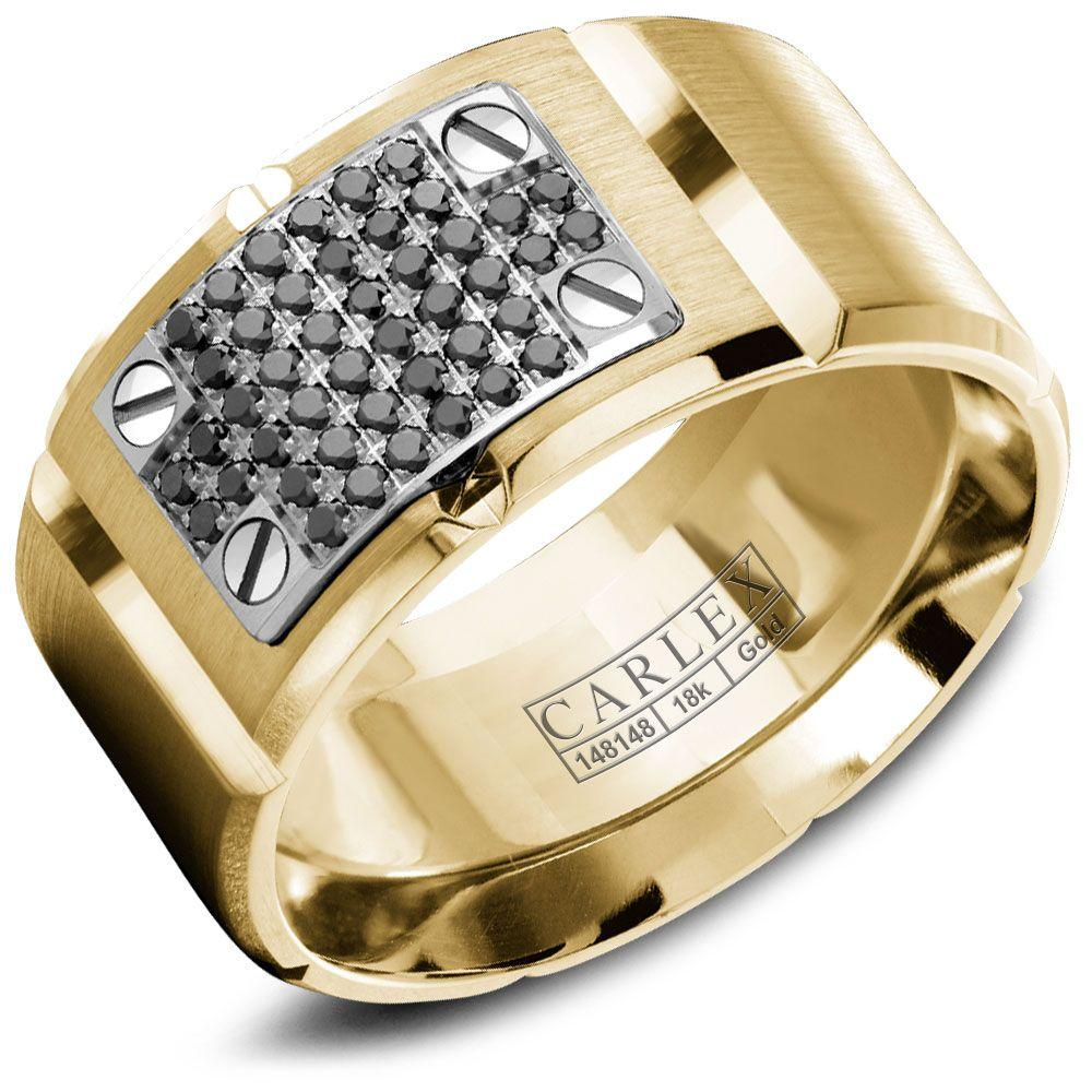 Crowning Luxury Ring In Yellow Gold with 44 Black Round Diamonds 11.5mm Carlex Collection