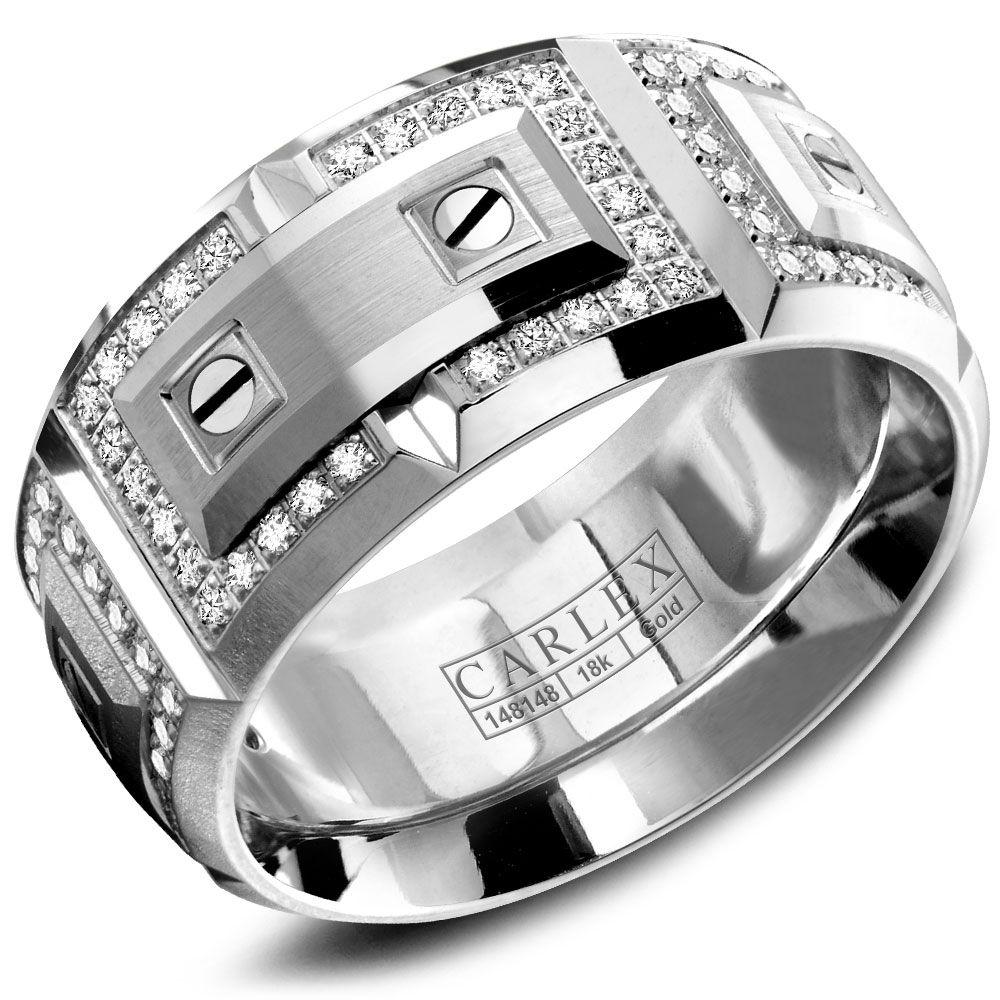 Crowning Luxury Ring In White Gold with 112 Round Diamonds 11mm Carlex Collection
