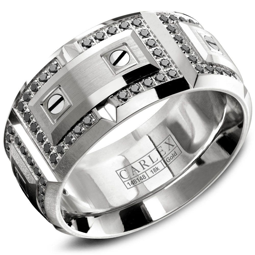 Crowning Luxury Ring In White Gold with 112 Black Round Diamonds 11mm Carlex Collection