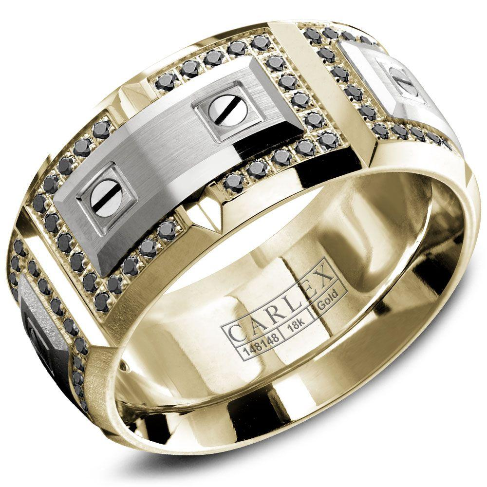 Crowning Luxury Ring In Yellow Gold with 112 Black Round Diamonds 11mm Carlex Collection