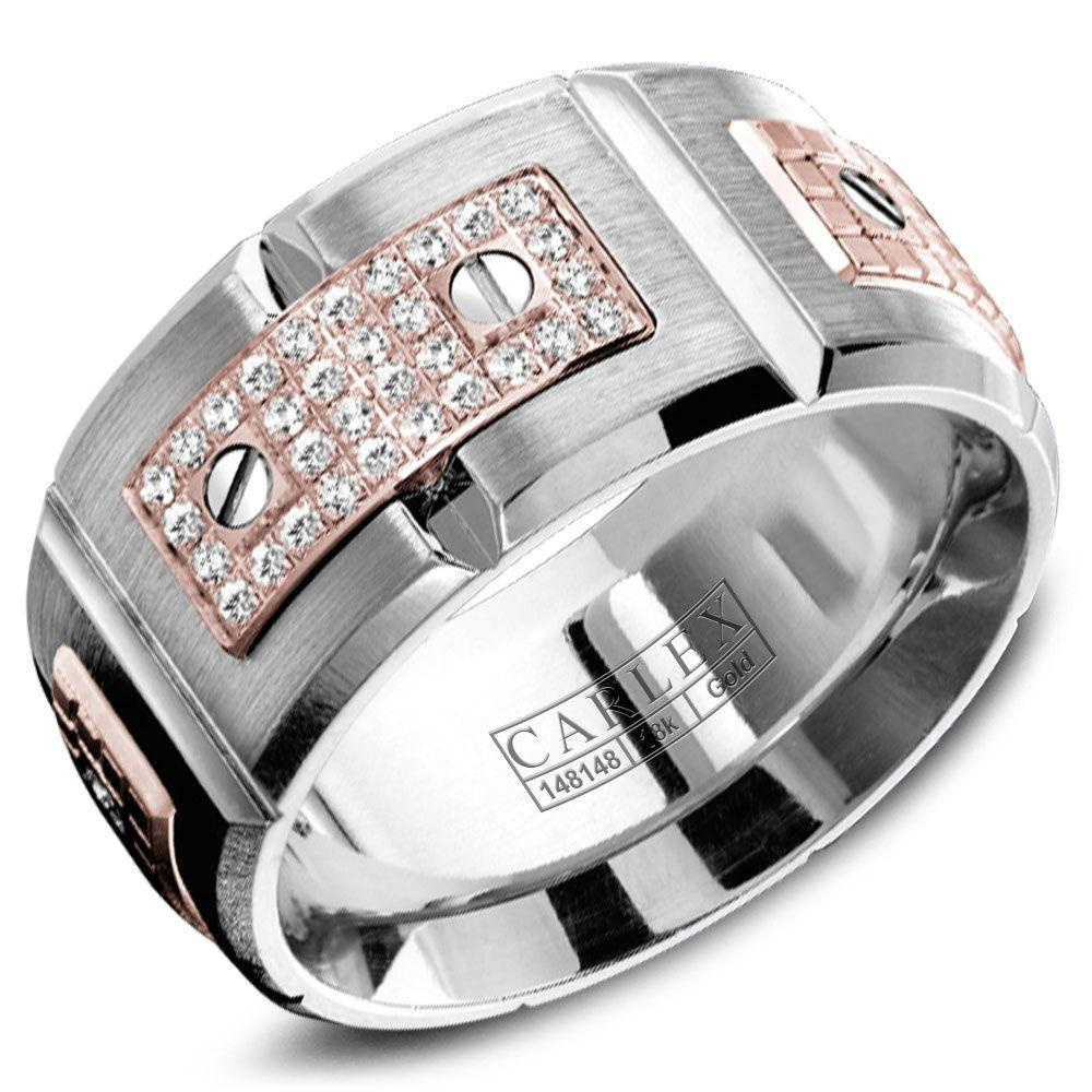 Crowning Luxury Ring In White Gold 11mm with 32 Round Diamonds Carlex Collection