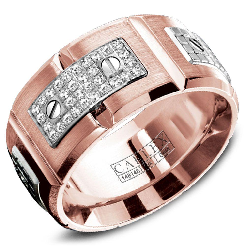 Crowning Luxury Ring In Rose Gold 11mm with 32 Round Diamonds Carlex Collection