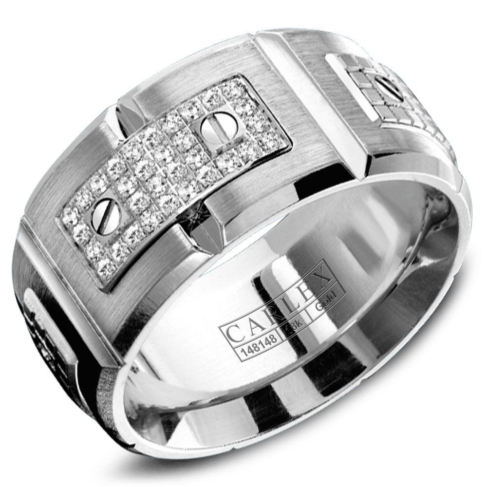 Crowning Luxury Ring In White Gold 11mm with 180 Round Diamonds Carlex Collection