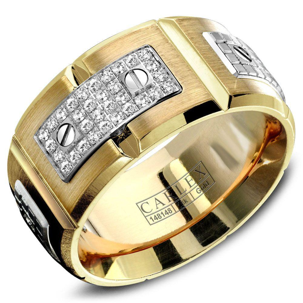 Crowning Luxury Ring In Yellow Gold 11mm with 180 Round Diamonds Carlex Collection