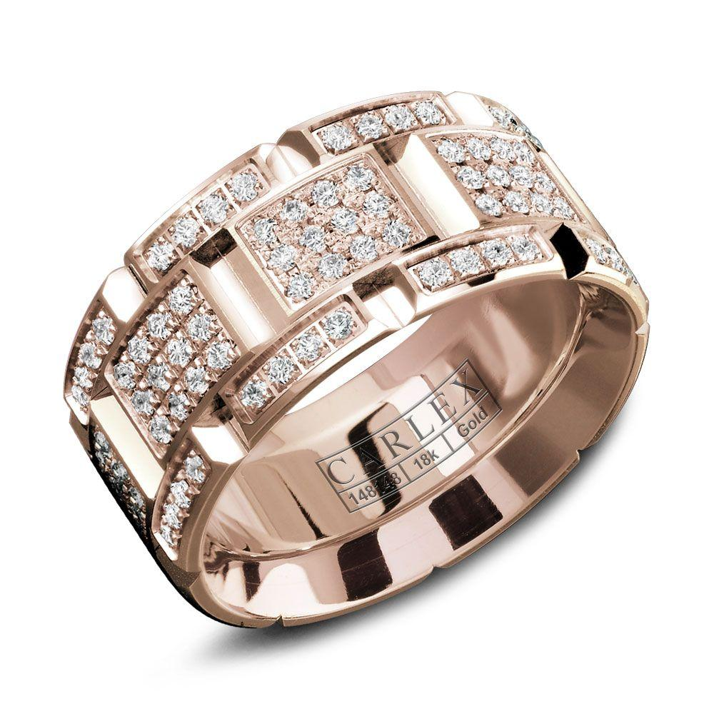 Crowning Luxury Ring With Rose Gold 9.5mm and 160 Round Diamonds Carlex Collection