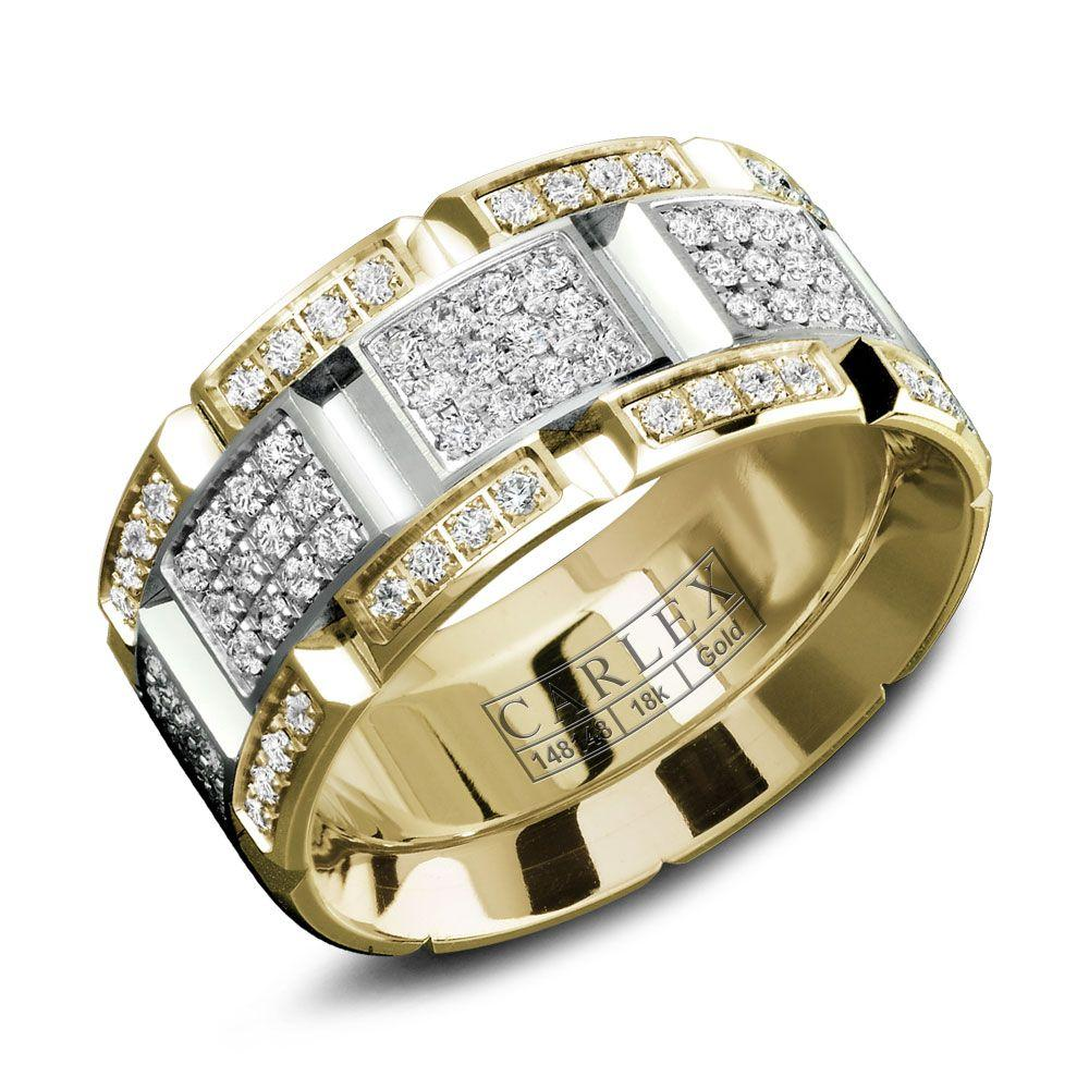 Crowning Luxury Ring With Yellow and White Gold Inlay and 160 Round Diamonds Carlex Collection