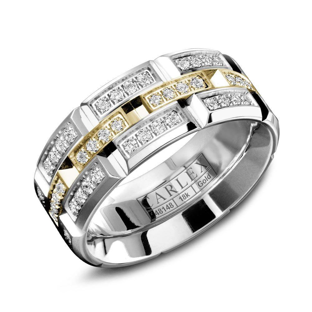 Crowning Luxury Ring With White Gold with Yellow Gold 7.5mm and 96 Diamonds Carlex Collection