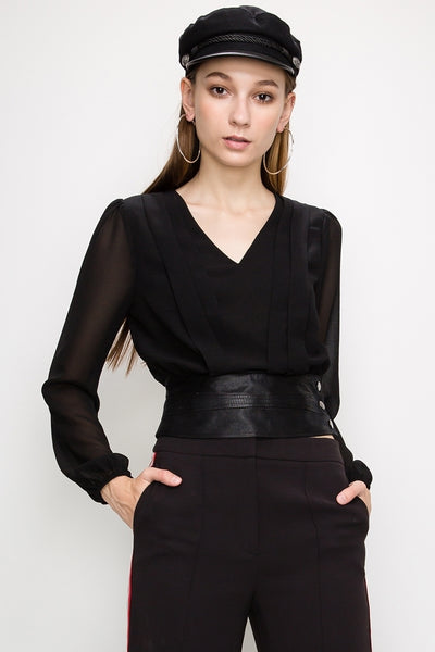 Sheer Blouse with Faux Leather Band Waist