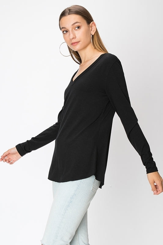 Long Sleeve V-Neck Black Tee