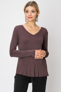 Long Sleeve V-Neck Tee Plum