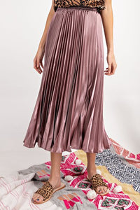 Satin Pleated Skirt