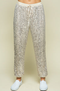 Champagne Sequin Joggers