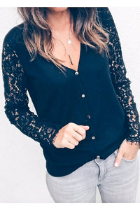 Black Cardigan with Lace Sleeve