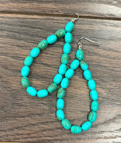 Teardrop Turquoise Bead Earrings