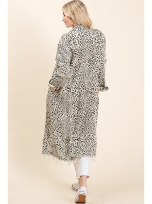 Leopard Denim Duster
