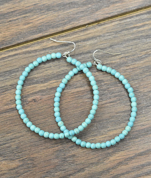 Large Turquoise Bead Hoops