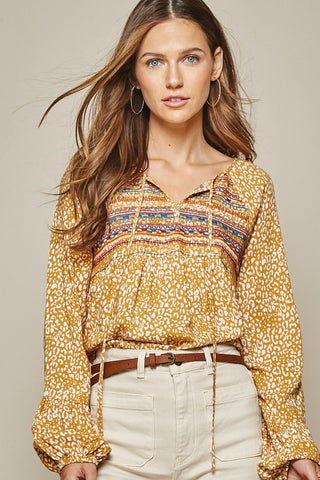 Leopard Embroidered Blouse