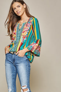 Turquoise Serape Embroidered Blouse