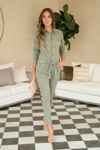 Olive Green Denim Jumpsuit